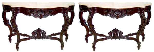 54.5927 Pair of American Victorian Rosewood Rococo Marble Top Pier Tables
