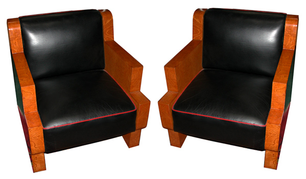 29.5988 Pair of Burled Maple Art Deco Chairs