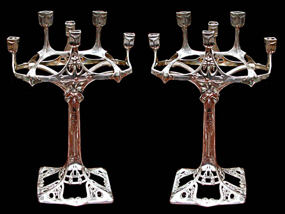 63.5990 Pair of Silver Art Nouveau Candelabra by WMF.