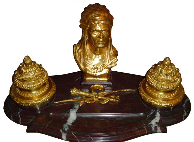 70.5995 Gilt Bronze & Marble American Indian Inkwell