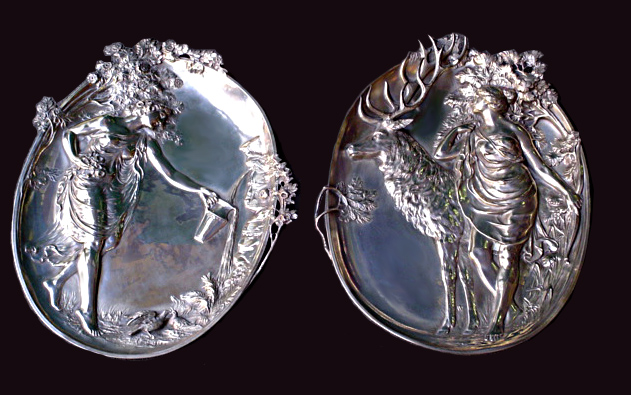 83.5998 Pair of WMF Silver Plate Plaques.