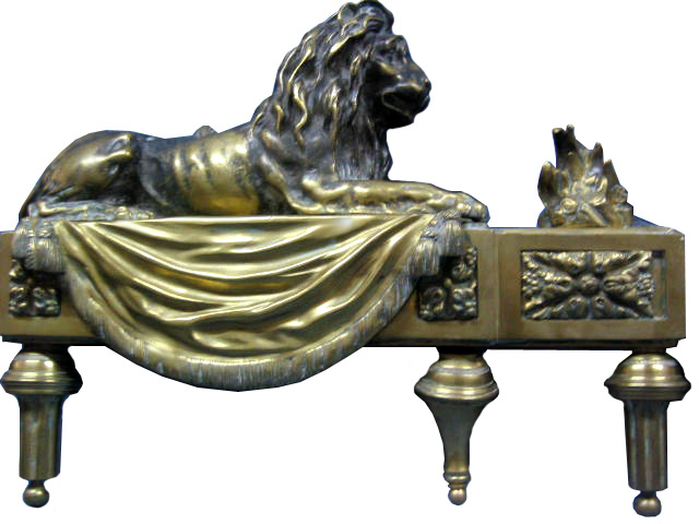 81.6038 Pair of 19th C. French Bronze Lion Chenets