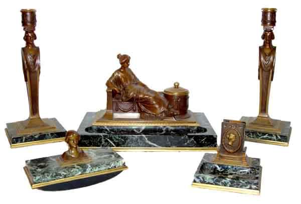 70.6085 Rare 5 pc. Signed Tiffany & Co. Empire Revival Bronze and Marble Desk Set