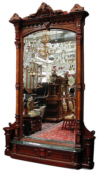 54.6107 American Walnut Hall Mirror by Herter Brothers