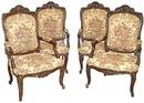 30.6140 Four Carved Walnut Armchairs w/Needlepoint Fabric