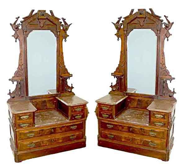 49.6150 Pair of 19th C. Burled Walnut Dressers