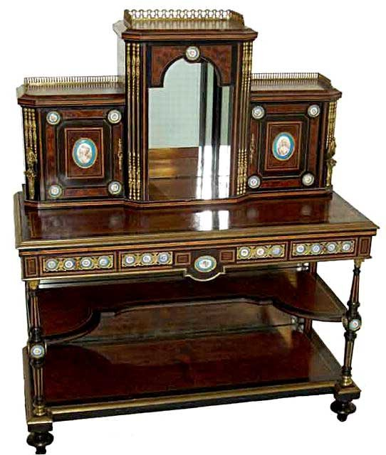 27.6149 Early 19th C. Burled Walnut & Bronze Mounted 2-Pc. Writing Desk