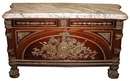 28.6256 Large French Louis XVI Cabinet w/Bronze Trim & Marble Top