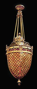58.4846 Jeweled & Stained Glass Hanging Lantern