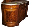 26.2821 Nice Victorian Walnut & Burl Sideboard with White Marble Top