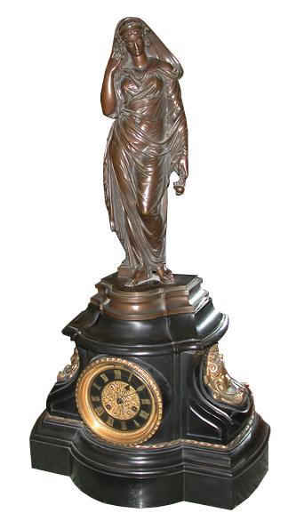 62.6325 Bronze Clock w/Figural Lady c. 1890
