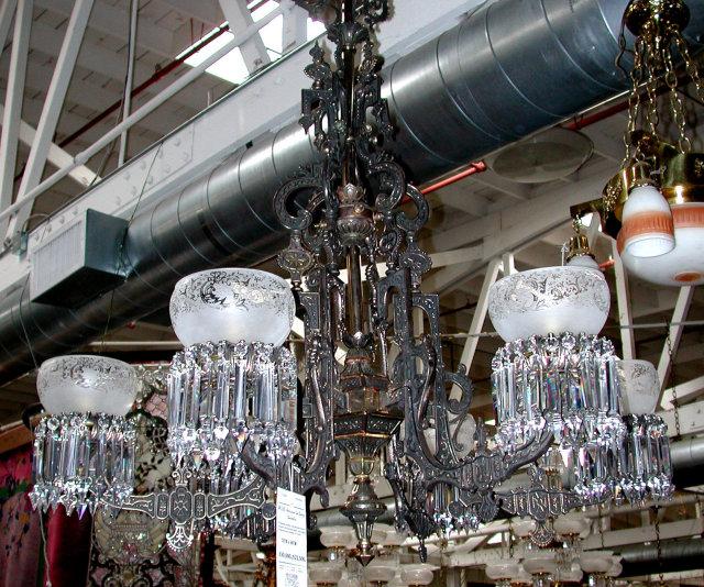 57.6356 American Gas Bronze & Cast Iron Chandelier w/Intricate Detailing