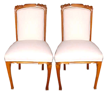 30.5230 Pair of Vintage French Walnut Art Nouveau Side Chairs.