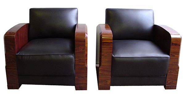 6404 Pair of Art Deco Chairs in Black Leather