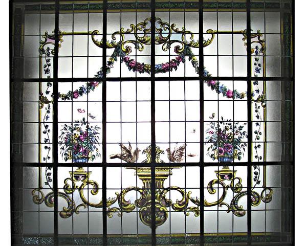 74.6407 Hand Painted & Leaded Glass Window c. 1925