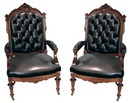 31.6433 Pair of Renaissance Revival Chairs in Black Leather
