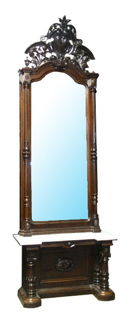 54.6450 Victorian Carved Walnut Marble Top Pier Mirror w/Pierce Carved Crest.