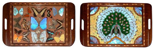 81.6453 Set of 5 Art Deco Walnut Decending Trays w/Decorated Inlaid Butterflies