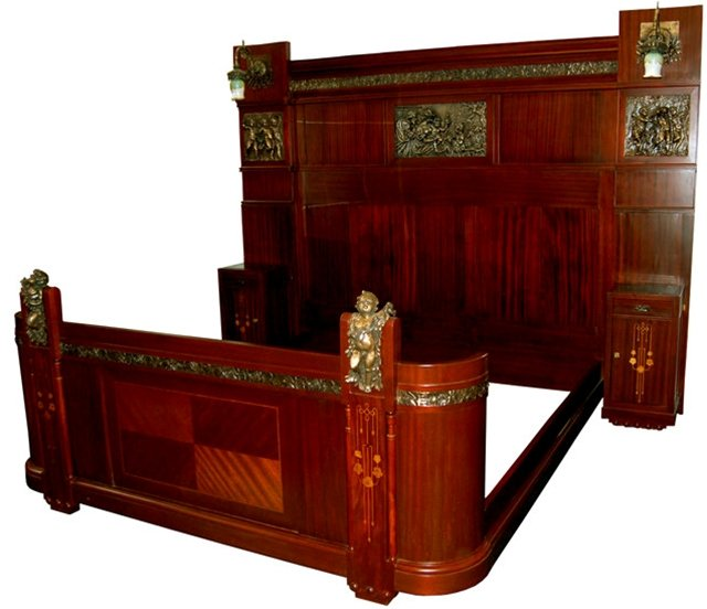 53.1197 3-Piece Italian Mahogany King Size Bedroom Suite Decorated with Inlaid Wood, Cast Bronze Cupids & Mounted Bronze Plaques