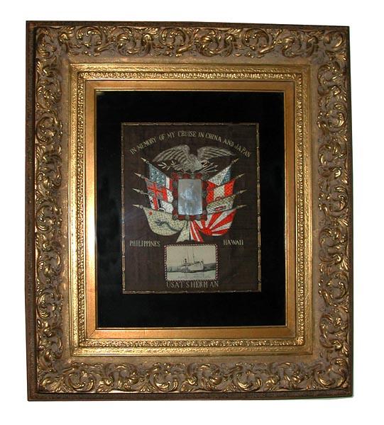 77.253 American 20th C. Framed Silk Embroidery.
