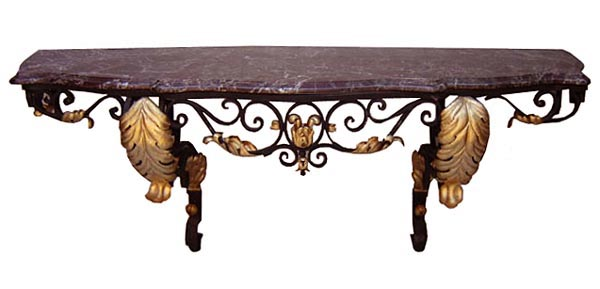 54.6489 French Wrought Iron Console with Marble Top