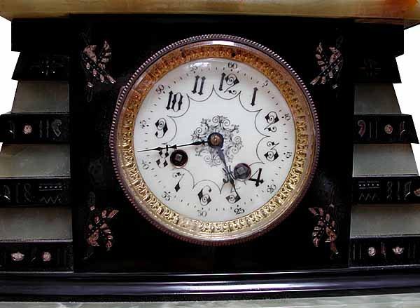 62.6502 Garniture Empire Black & Green Clock Set