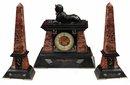 62.6501 Garniture Empire Black & Burgundy Clock Set