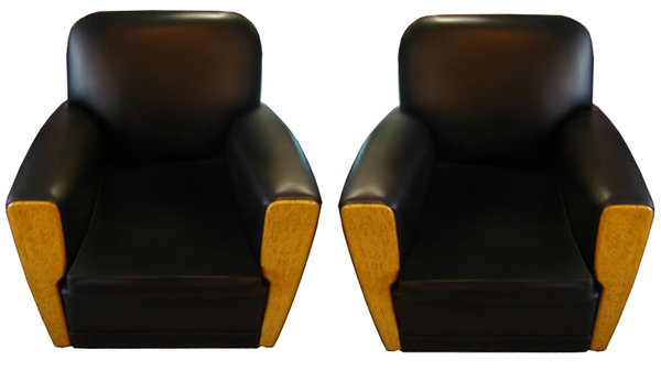31.6531 Pair of Art Deco Chairs in Black Leather