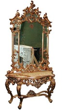 54.5136 19th C. Mirrored Console with White Marble Top