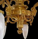 57.6569 Cast Bronze Six Arm Chandelier with Goat Head & Glass Bullet Shades
