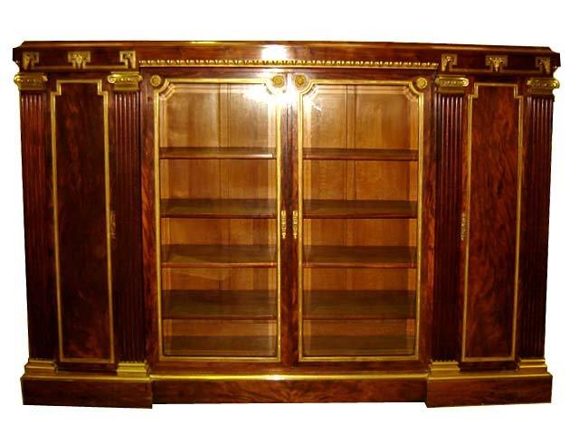 24.6610 19th C. French Empire Bookcase w/Greek Key
