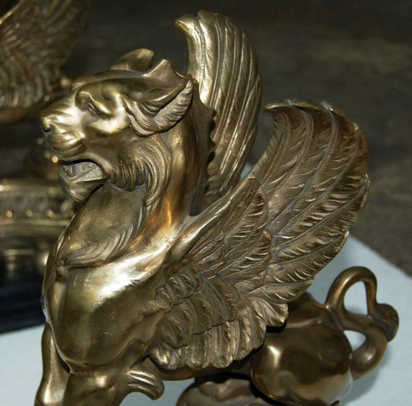4996 Antique 19th C. Bronze Griffin Chenets
