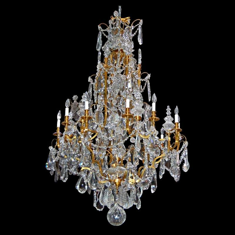 7170 19th C. Baccarat Crystal Chandelier with Bronze Frame