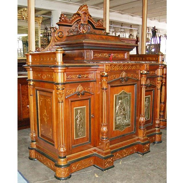 5738 Antique Carved Pottier & Stymus Cabinet with Bronze Plaques