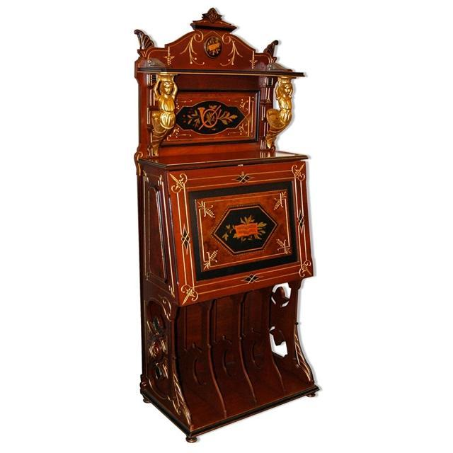 6788 Inlaid Renaissance Music Cabinet with Figural Mounts