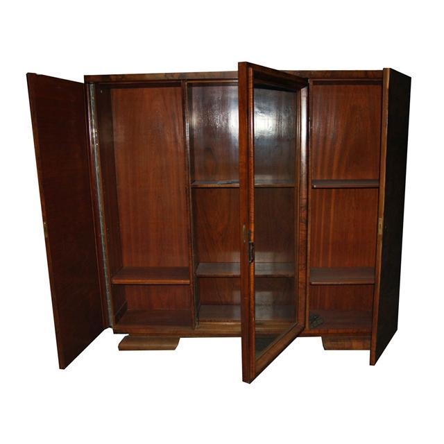 20.1407 Walnut & Burl Art Deco Bookcase c. 1930