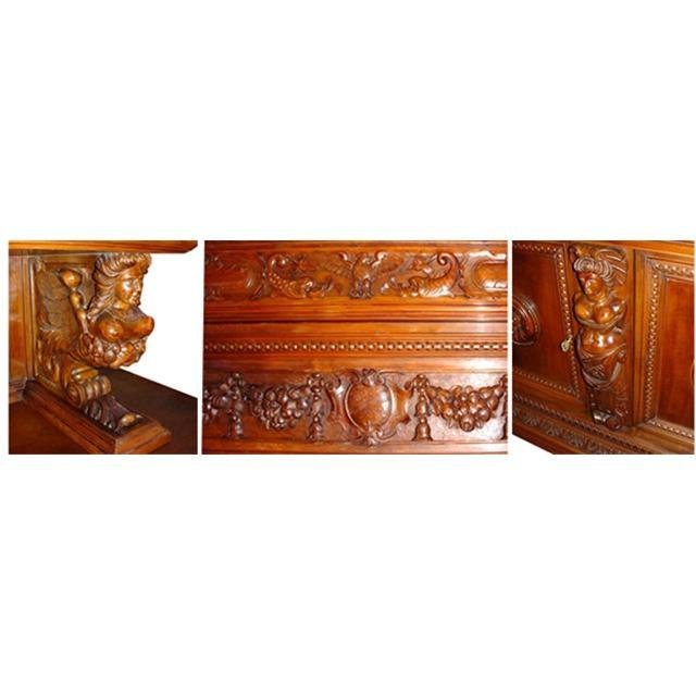 42.5050 Fabulous 9 pc. Walnut Tuscan Dining Set with Carved Women Supports c. 1880