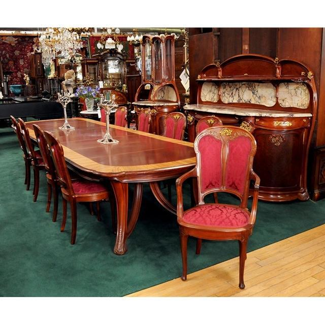 43.3167 Dumas Designed Art Nouveau Dining Suite Consisting of 17 Perfectly Matched Pieces, All w/Dore Bronze Gooseberry Clusters