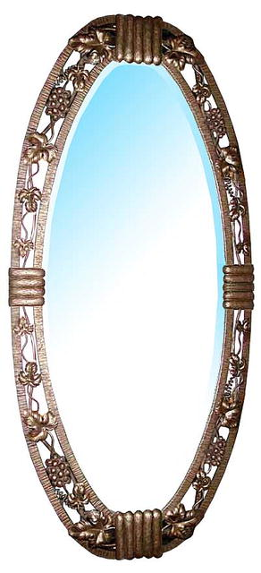 33.122 Oval Art Deco Wrought Iron Mirror