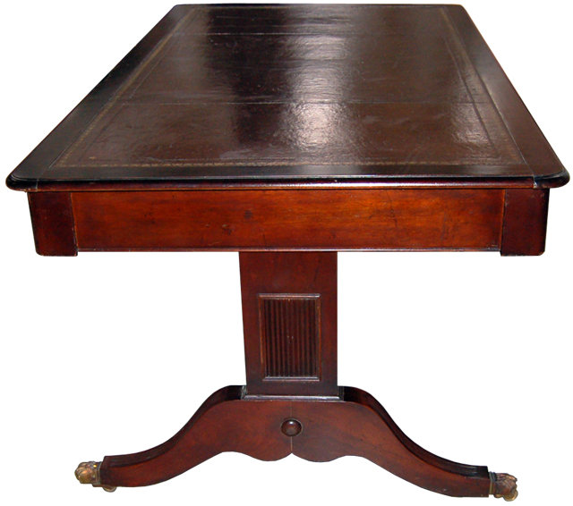 11.1056 English Sheraton Style Mahogany Library Table w/Leather Top