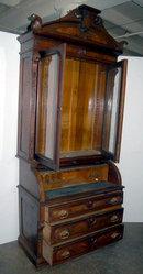 23.6787 Antique Renaissance Revival Burled Walnut Cylinder Secretary Desk