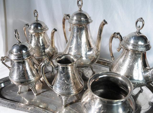 4536 Antique 7-Piece Victorian Silver Plate Tea Set