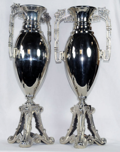 7013 Pair of Art Noveau WMF Silver Plated Vases
