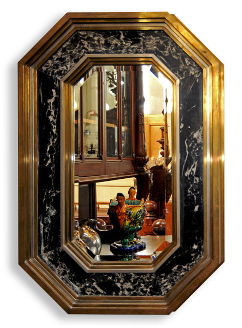 7021 Art Deco Brass & Marble Mirror with Beveled Glass