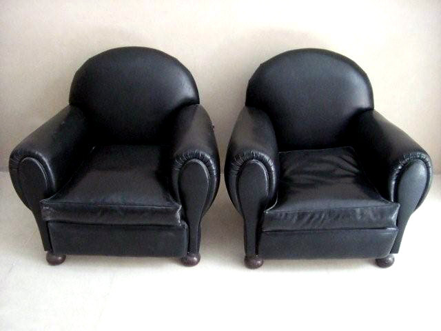 7026 Pair of Art Deco Black Leather Club Chairs