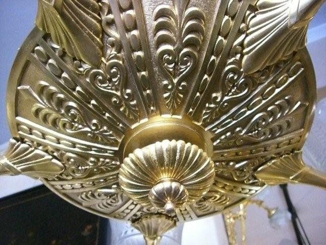 7038 Bronze Chandelier with Winged Lady Sphinxes