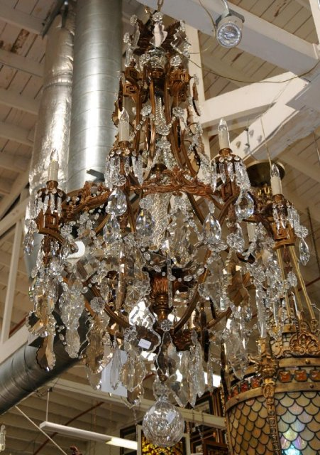 7080 Large Bronze & Crystal French Chandelier