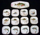 7002 19th C. 13-Piece Hand Painted Fish Plate Set