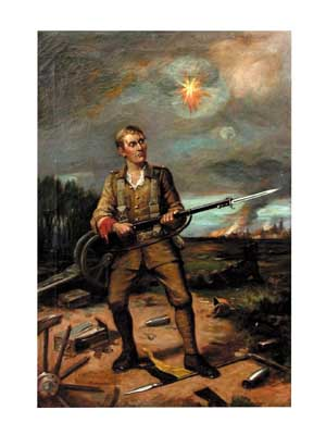 """77.4425 """"Soldier at Battle"""" 19th century oil on canvas"""