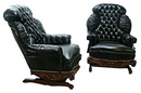30.4501 Pair of Turkish Rockers and Footstools Upholstered in Black Leather